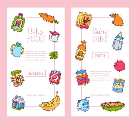 Baby food formula puree illustration. Nutrition for kids. Babies bottles and feeding. First meal product for infants and toddlers templates for vertical flyers