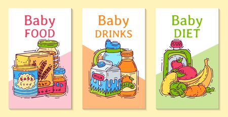 Baby food formula puree illustration. Nutrition for kids. Babies bottles and feeding. First meal product for infants and toddlers templates for invitation cards