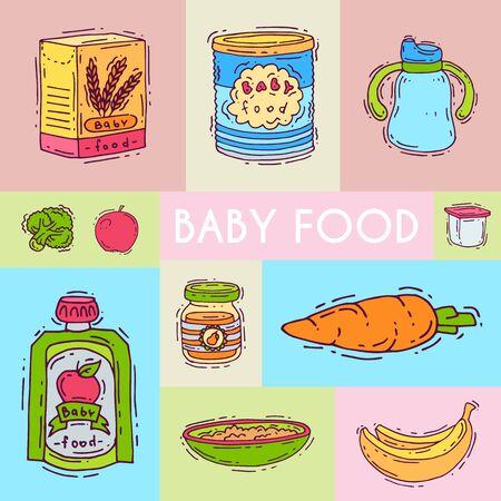 Illustration de purée de formule alimentaire pour bébé. Alimentation pour les enfants. Biberons et biberons. Modèles de premier repas pour les nourrissons et les tout-petits pour les cartes d'invitation