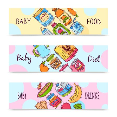 Baby formula food puree illustration. Complementary feeding and nutrition for kids. Babies bottles, jars and vegetables. First meal products for infants and toddlers templates for flyers Çizim