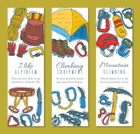 Hiking equipment illustration. Mountain climbing, alpinism and mountaineering cartoon icons templates for flyers or invitation cards. Symbols of hiker adventures Illustration