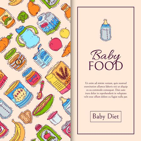 Baby food formula puree seamless pattern illustration. Nutrition for kids. Babies bottles and complementary feeding. Infants and toddlers first meal product.