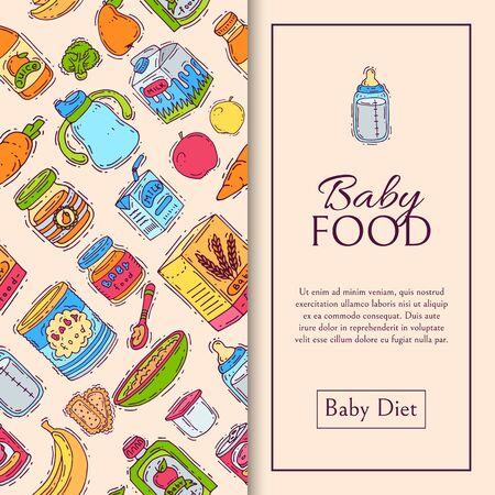 Illustration de modèle sans couture de purée de formule alimentaire pour bébé. Alimentation pour les enfants. Biberons et compléments alimentaires. Produit de premier repas pour nourrissons et tout-petits. Vecteurs