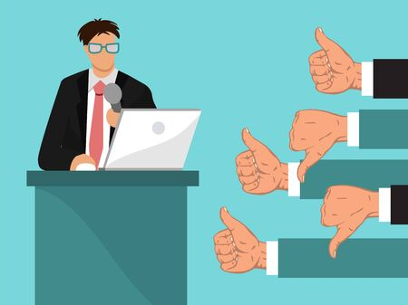 Businessman feedback illustration. Man speaks from rostrum, many peoples hands show like and dislike. Business feedback from colleagues concept Ilustracja