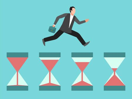 Hurrying business man runs on hourglasses. Concept of time management, deadline or urgency. Businessman, manager hurry up illustration Vectores