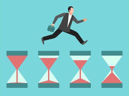 L'uomo d'affari frettoloso corre su clessidre. Concetto di gestione del tempo, scadenza o urgenza. Uomo d'affari, manager sbrigati illustrazione Vettoriali