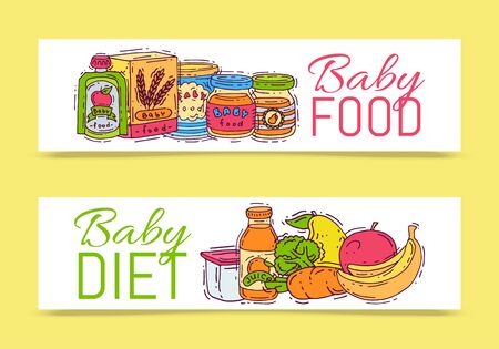 Baby formula food puree illustration. Complementary feeding and nutrition for kids. Babies bottles, jars and vegetables. First meal products for infants and toddlers templates for flyers 일러스트