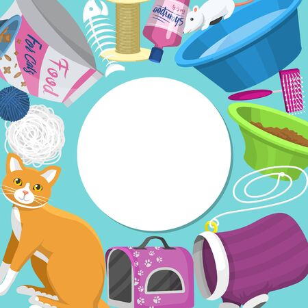 Pet care supplies illustration. Animal cares, food and toys for cat, toilet, carrier and equipment for grooming pets located around place for text. Accessories for cats  イラスト・ベクター素材