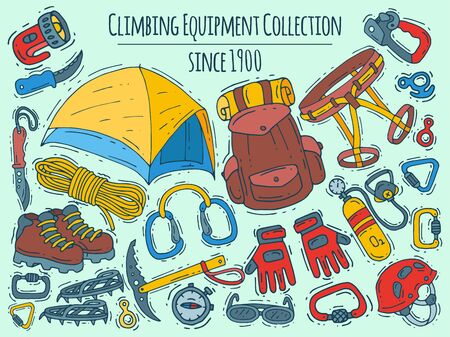 Mountain climbing, alpinism and mountaineering cartoon symbols banner. Hiking equipment illustration. Icons of hiker adventures for web pages, sites and posters