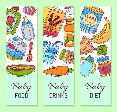 Illustration de purée de formule alimentaire pour bébé. Alimentation pour les enfants. Biberons et biberons. Modèles de produits de premier repas pour les nourrissons et les tout-petits pour les dépliants verticaux Vecteurs