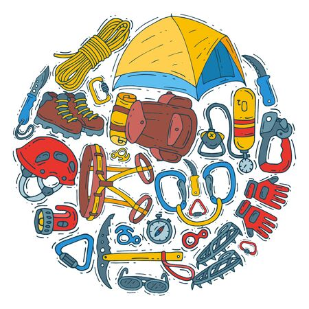 Hiking equipment circle set illustration. Mountain climbing, alpinism and mountaineering cartoon symbols. Icons of hiker adventures