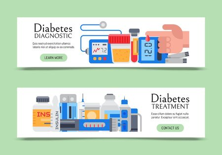 Diabetes mellitus care web banners illustration. Doctor cares about diabetics. Sugar and insulin levels, healthy living for health diabetic. For websites and landing pages Ilustracja