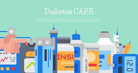 Diabetes mellitus care banner illustration. Doctor cares about diabetics. Sugar and insulin levels, healthy living for health diabetic. For posters, banners and cards Illustration