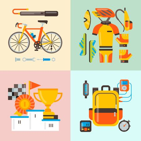 Bicycle uniform and sport accessories illustration. Bike activity, cycling equipment and sports accessory for competition races. Posters, flyers or invitation cards templates