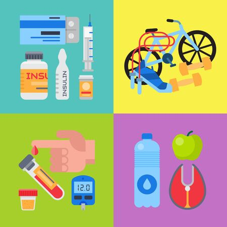 Diabetes mellitus care banner set illustration. Doctor cares about diabetics. Sugar and insulin levels, healthy living for health diabetic. For posters, banners and invitation cards