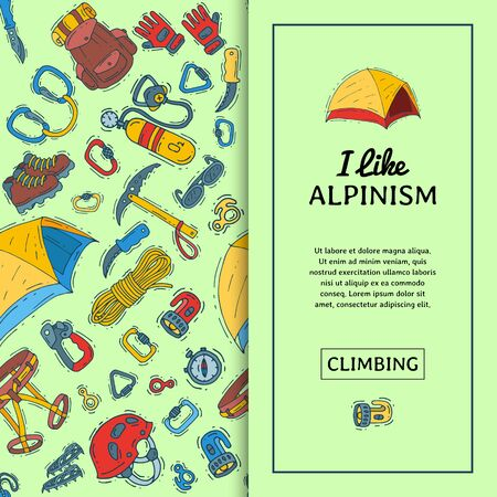 Alpinism equipment seamless pattern illustration. Mountain climbing, hiking and mountaineering cartoon symbols. Icons of hiker adventures