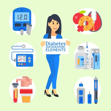 Doctor shows diabetes illustration in cartoon style. Diabetic treatment, sugar control, prevention and diagnostic. Diabetics insulin level and other elements for health care Illustration