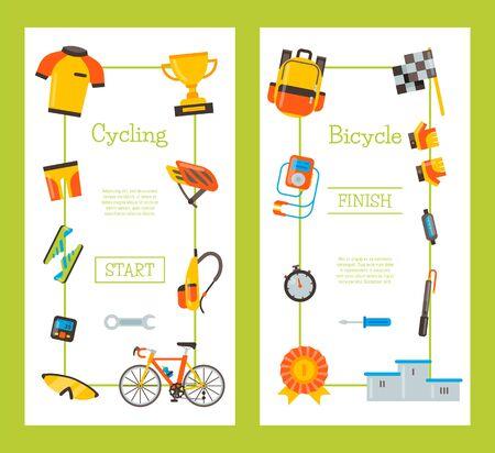 Fahrraduniform und Sportzubehörillustration. Fahrradaktivität, Fahrradausrüstung und Sportzubehör für Wettkampfrennen. Vertikale Banner- oder Flyer-Vorlagen