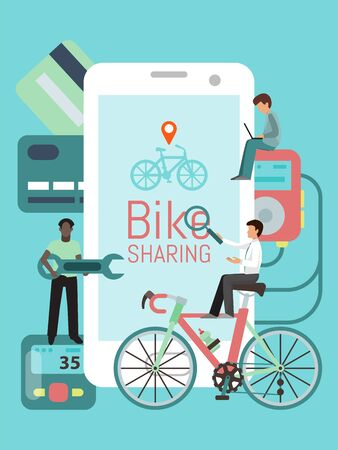 Bicycles sharing system phones app illustration. Service for rent bikes in the city. Big mobile phone with bicycle share application. Repair, online pay.