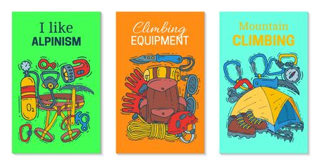 Mountain climbing, alpinism and mountaineering cartoon symbols. Hiking equipment illustration. Hiker adventures invitation cards or flyers