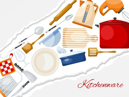 Kitchen utensils and cooking banner illustration. Kitchenware for cooking, glass, porcelain and enamelware. Cartoon style utensil for web banners, sites Vetores