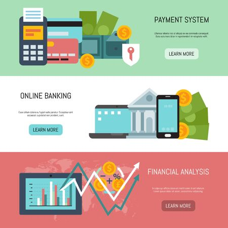 Online banking, payment system and financial analysis illustration. Web banners of on line payments, bank funds and business transactions template for landing pages and sites Illusztráció