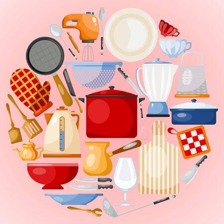 Naczynia kuchenne i zestaw okrągłych ilustracji narzędzi. Przybory kuchenne do gotowania. Szkło, porcelana i naczynia emaliowane. Przybory i narzędzia w stylu kreskówkowym