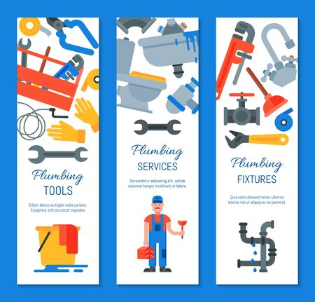 Vertical banners of plumbing tools, fixtures and services illustration. Plumber with plunger and suitcase repairing appliances. Home repair service