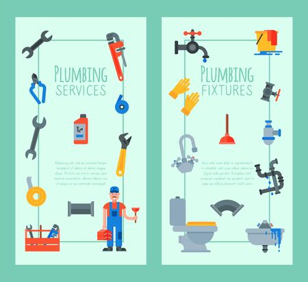 Vertical banners of plumbing tools, fixtures and services illustration. Plumber with plunger and suitcase repairing appliances.