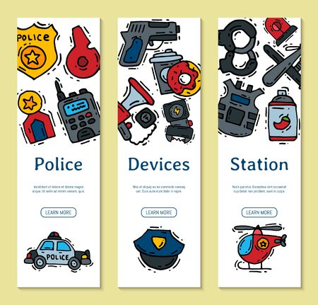 Police justice symbol icons vertical banner illustration. Collection of on-duty policemen signs, symbols of policing and justness web banners.