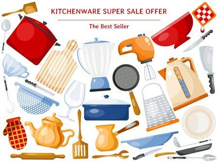 Kitchen utensils sale offer banner illustration. Kitchenware for cooking, glass, porcelain and enamelware. Utensils sales for print, web and landing pages.