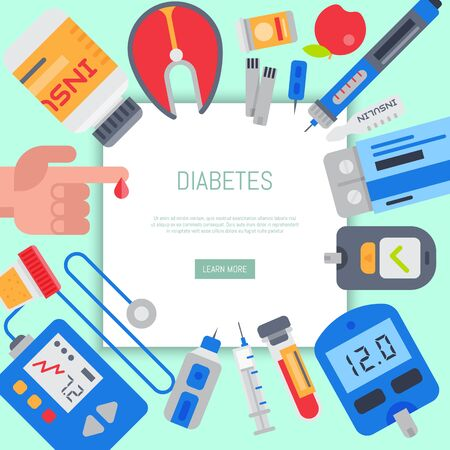 Diabetes mellitus care web banner illustration. Doctor cares about diabetics. Sugar and insulin levels, healthy living for health. For websites and landing pages Illustration