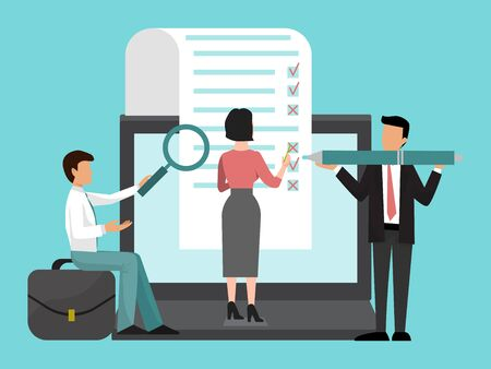 Business people team fill out a big form with check boxes illustration. Checklist on clipboard, businesswoman and colleagues.