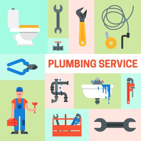 Web banner of plumbing services set illustration. Professional plumber man with tool case and plunger is repairing sink, faucet, pipes.
