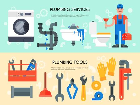 Horizontal web banners of plumbing services, tools illustration. Professional plumber with tool case and plunger is standing near plumbing appliances for repair. Ilustracja