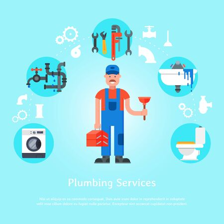 Plumbing services web banner illustration. Professional plumber man with tool case and plunger is surrounded of sink, faucet and pipes, toilet and wash machine.