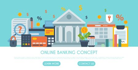 Online banking, money payment or shopping illustration. Web banner of on line payments, and transfers, bank funds and business transactions template for landing pages