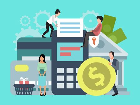 Banca en línea, transferencia de dinero o ilustración comercial. Concepto de pagos y transferencias en línea, transacciones comerciales, fondos bancarios