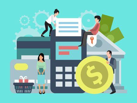 Online bankieren, geld overmaken of winkelen illustratie. Concept van online betalingen en overschrijvingen, zakelijke transacties, bankfondsen