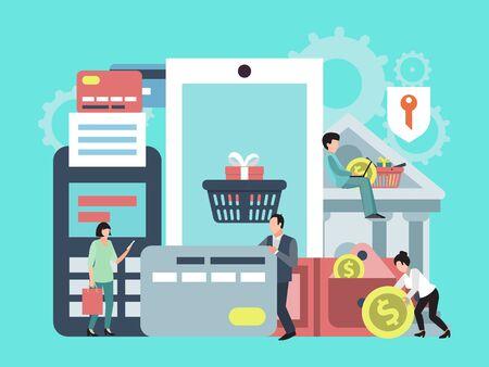 Pagamento mobile, trasferimento di denaro o illustrazione del concetto di acquisto online. Applicazione telefonica per pagamenti on line, transazioni commerciali