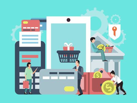 Paiement mobile, transfert d'argent ou illustration de concept d'achat en ligne. Application téléphonique pour les paiements en ligne, les transactions commerciales