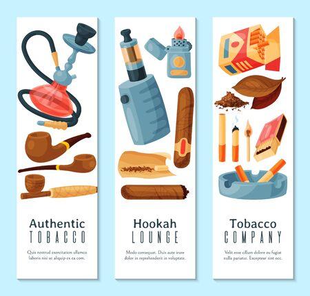 Zigarren-, Tabak- und Shisha-Bannerillustration. Tabakblätter, Zigarren und Zigaretten, Pfeifen, Aschenbecher und Feuerzeuge. Sammlung von Raucherzubehör. Vektorgrafik