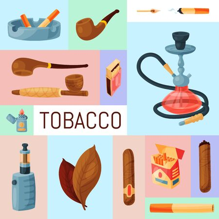 Tobacco, cigar and hookah set illustration. Cigars, cigarettes and tobacco leaves, pipes, ashtrays and lighters. Smoking accessories