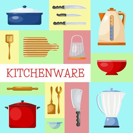 Kitchen utensils and tools web banner illustration. Kitchenware for cooking food from glass, porcelain and enamelware. Cartoon style utensil set of cards. Vettoriali
