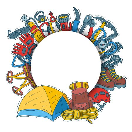 Hiking equipment circle set illustration. Mountain climbing, alpinism and mountaineering cartoon symbols located around place for text. Hiker adventures
