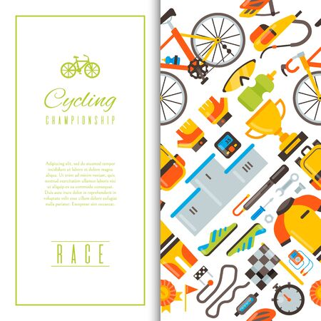 Bicycle uniform and sport accessories seamless pattern illustration. Bike activity, cycling equipment and sports accessory for competition races background.