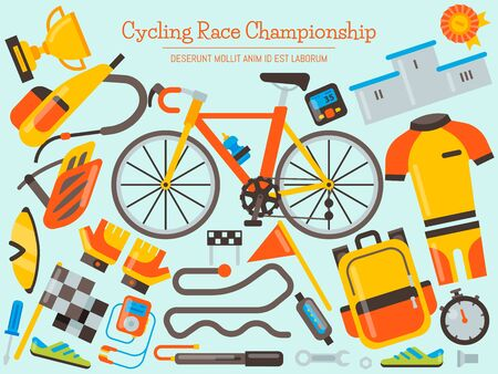 Bicycle uniform and sport accessories banner illustration. Bike activity, cycling accessory and sports equipment, competition races for landing pages.