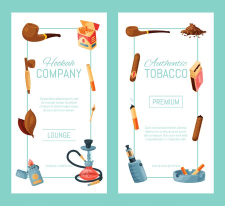 Cigar, tobacco and hookah banner illustration. Tobacco leaves, cigars and cigarettes, pipes, ashtrays and lighters. Smoking accessories collection.