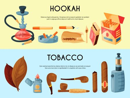 Tobacco, cigar and hookah banner illustration. Cigars, cigarettes and tobacco leaves, pipes, ashtrays and lighters. Smoking accessories