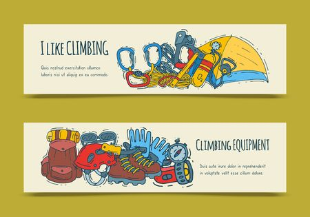 Mountain climbing, alpinism and mountaineering cartoon symbols banner. Hiking equipment illustration. Hike for web pages, sites and posters
